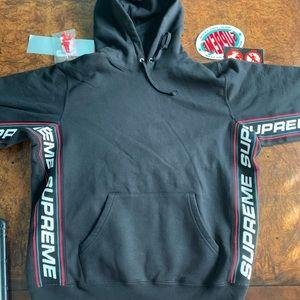 Supreme Text Ribbed Hooded Sweatshirt